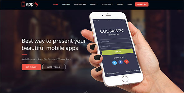 One Page App Landing Page Template