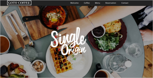 One Page Cafe Website Template