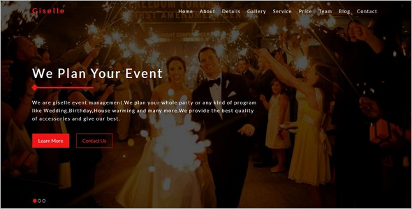 One Page Event Management Website Theme