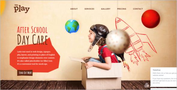 One Page Kindergarten Website Template