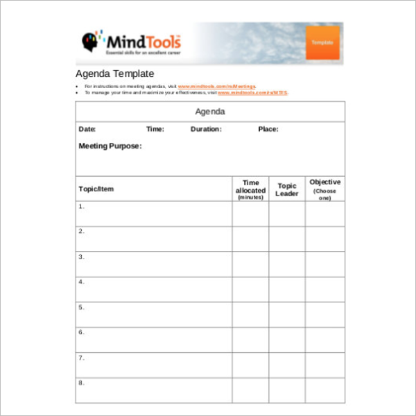 Outdoor Meeting Agenda Itinerary Template