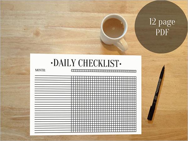 PDF Daily Checklist Template