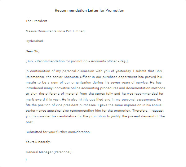 PDF Promotion Letter Template
