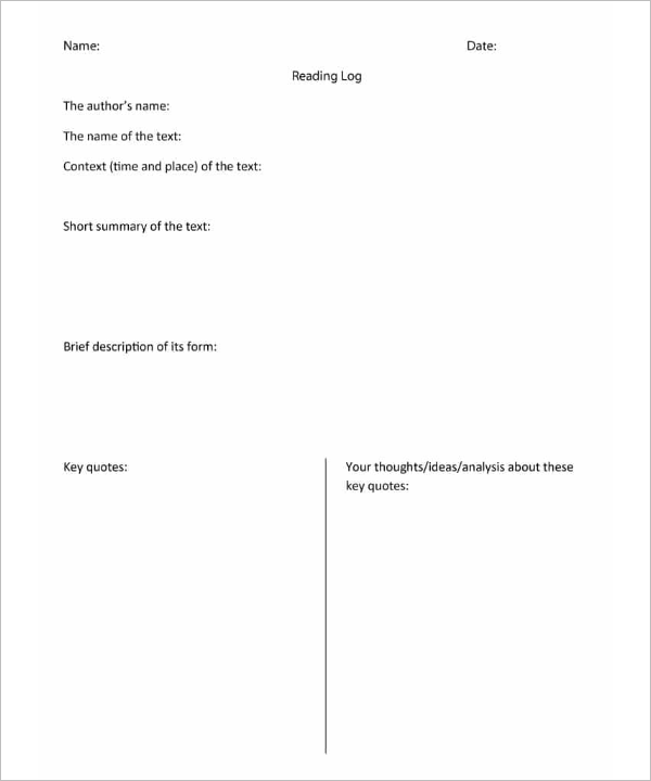 PDF Reading Log Template Download