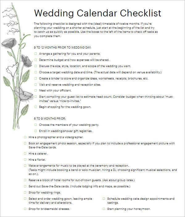 PDF Wedding Checklist Template