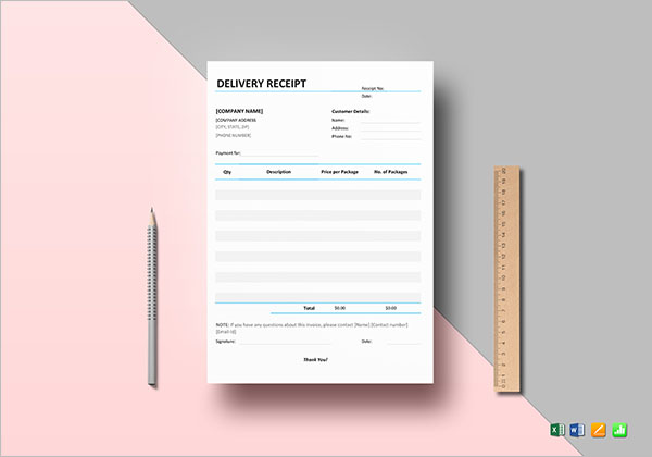 Package Delivery Receipt Template