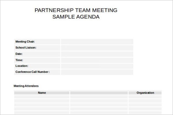 Partnership Meeting Itinerary Template