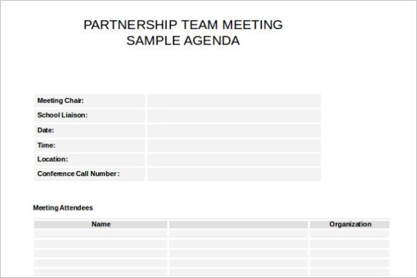 Partnership Meeting Itinerary Template