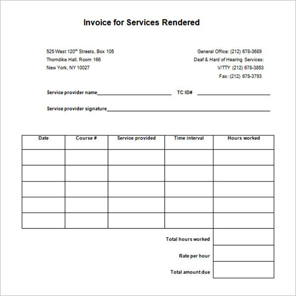 Payment Service Receipt Template