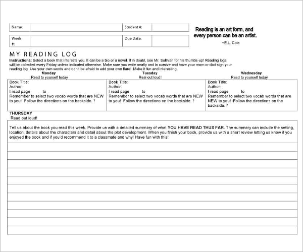 Personal Reading Log Template
