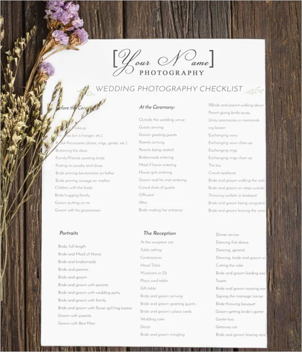 Photography Checklist For Wedding Day