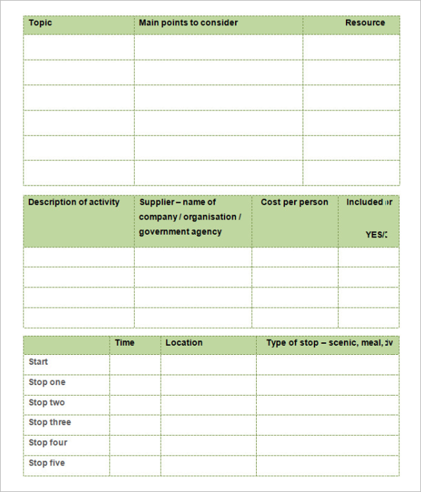 Planning Guide Blank Itinerary Template