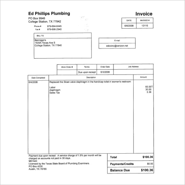 Plumbing Work Receipt Template