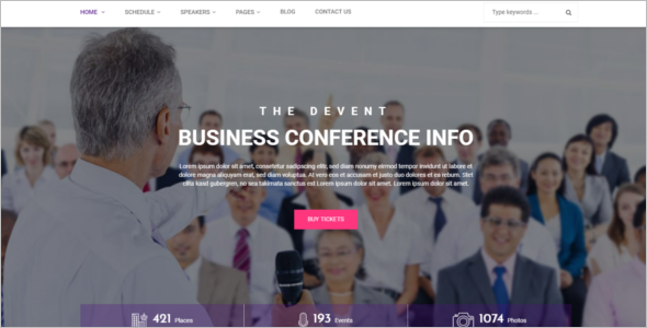 Popular Event Management Website Theme