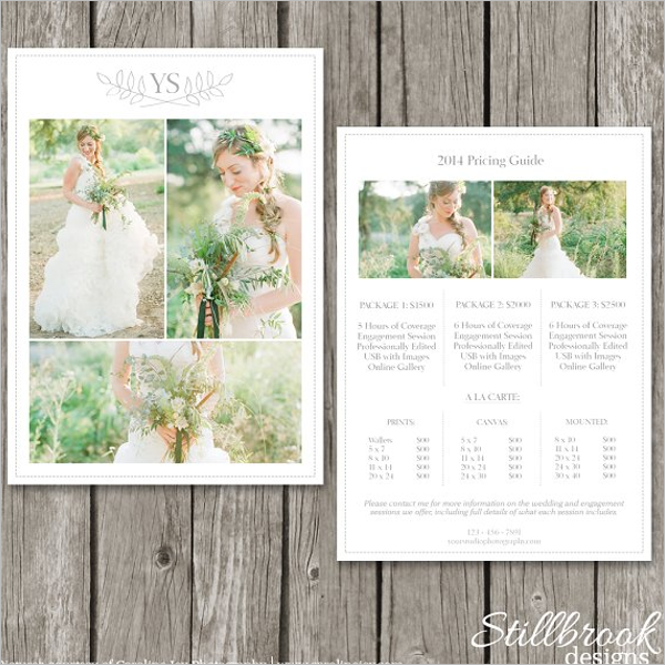 Price List Template For Photographer