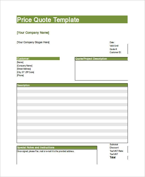 Price Quotation Template Illustrator