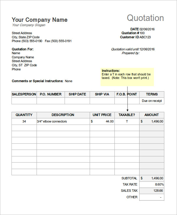 Price Quotation Template XLS