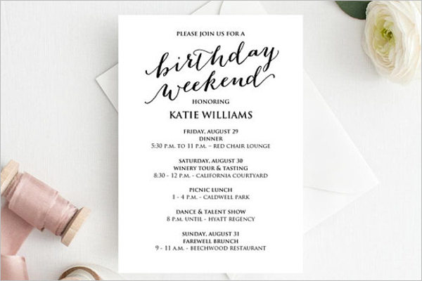 Printable Birthday Itinerary Template