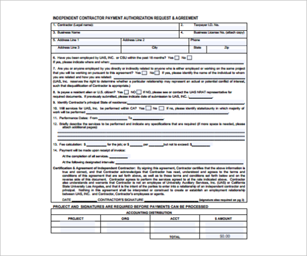 Printable Contractor Receipt Template