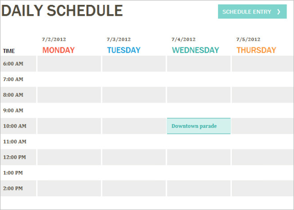 Printable Daily Blank Itinerary Template