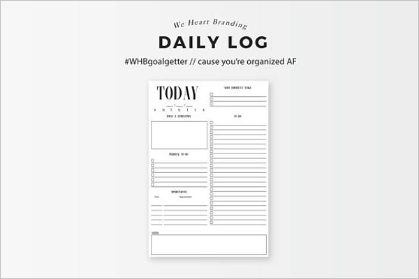 Printable Daily Log Template