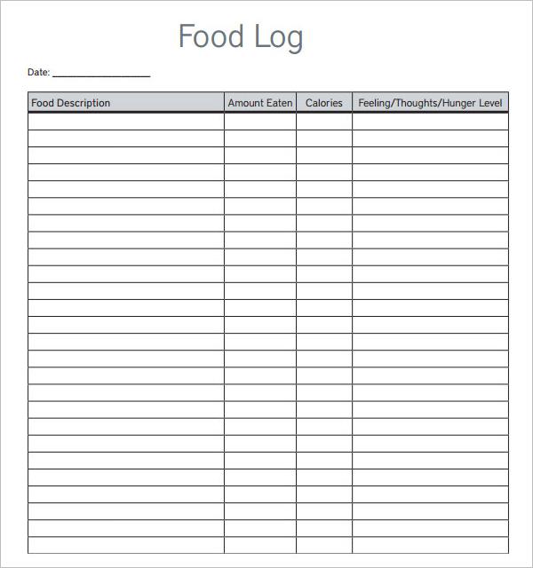 45 Food Log Templates Free Pdf Word Excel Examples