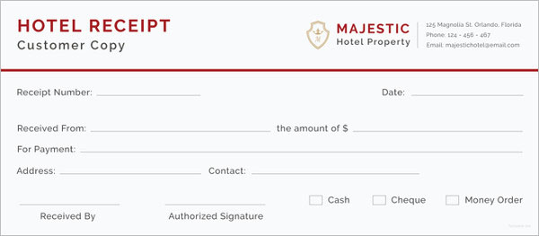 Printable Hotel Receipt Template