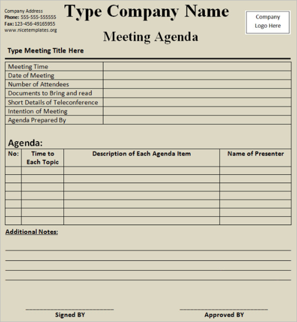 Printable Meeting Itinerary Template