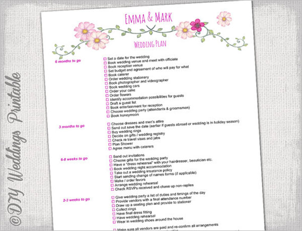 Printable Wedding Checklist Template