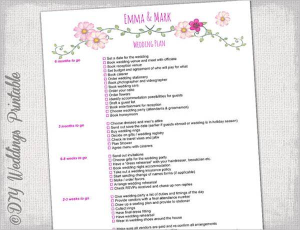 Printable Wedding Checklist Template