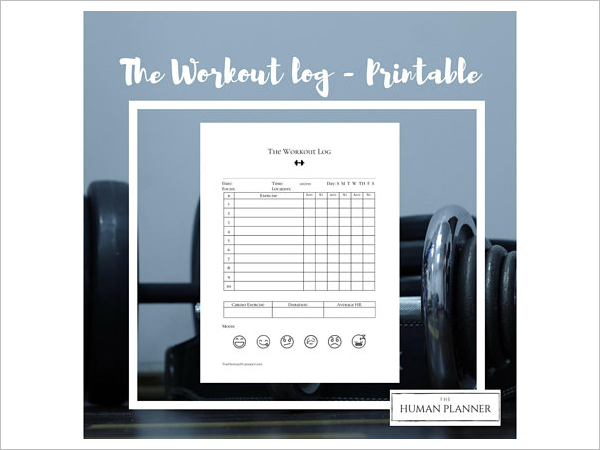 Printable Workout Log Template