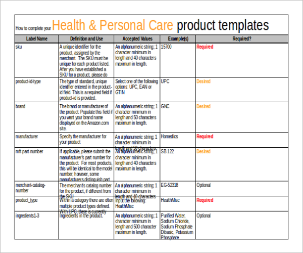 Product Inventory Report Sample