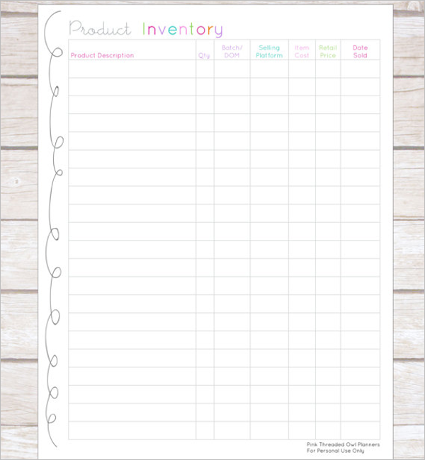 Product Inventory Tracking Template