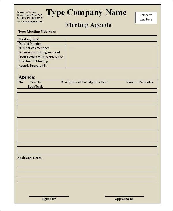 Professional Agenda Template