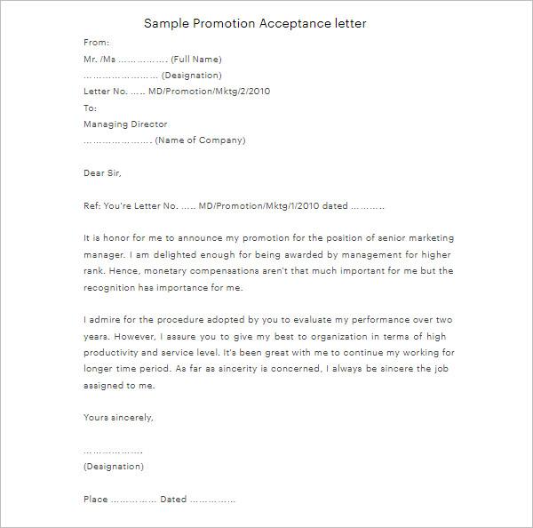 Promotion Acceptance Letter Template