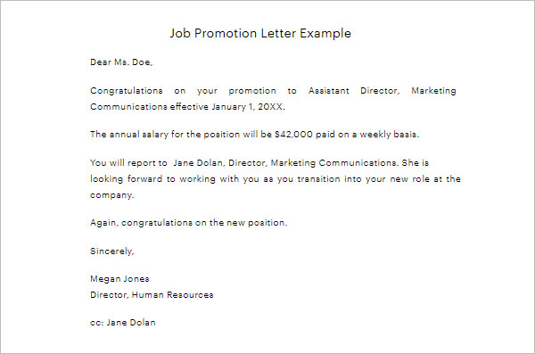 Promotion Letter Template DOC