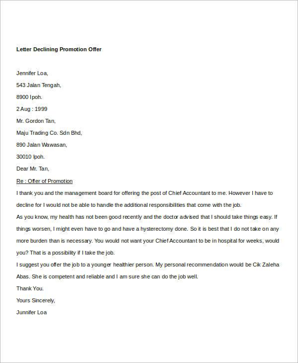 Promotion Offer Declining Letter Sample
