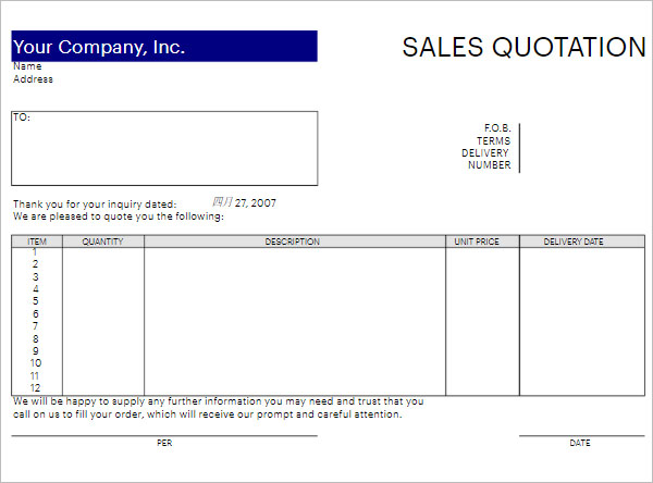 Quotation Template Download