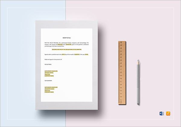 Rental Tax Receipt Template