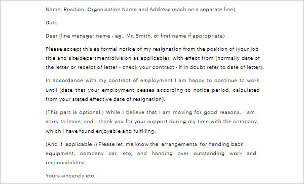 Resignation Letter With Notice Period Template