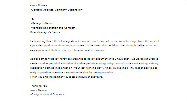 Resignation Notice Letter Template