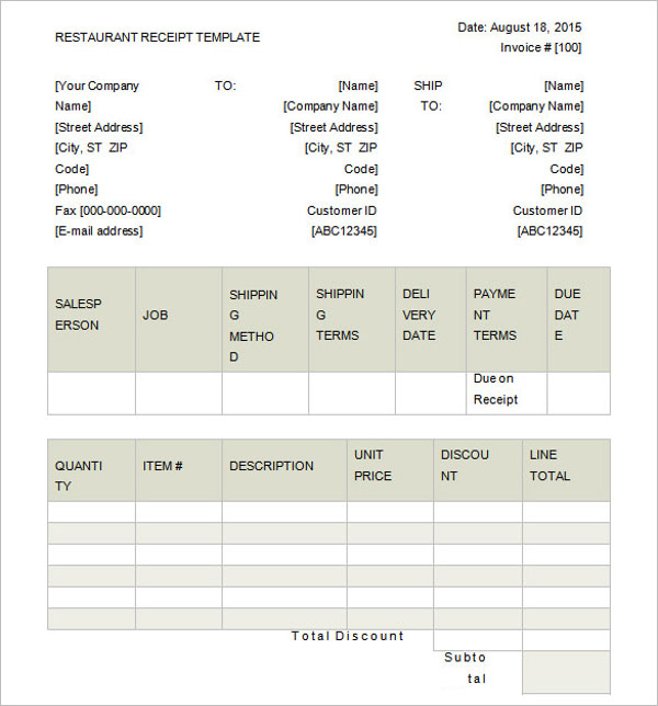 Restaurant Receipt Template Excel