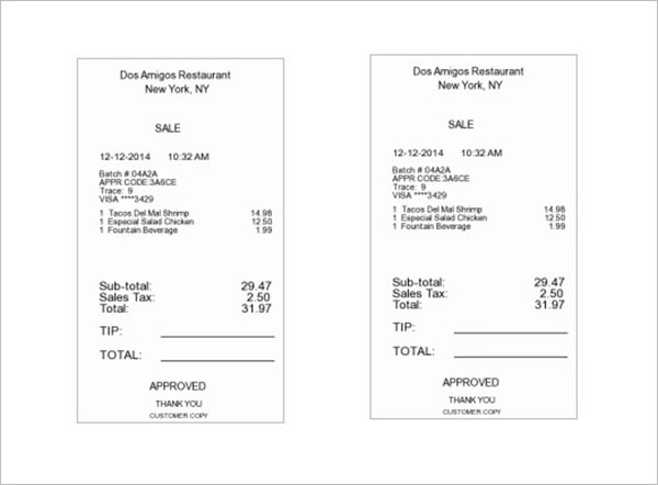 Restaurant Receipt Template Free Download