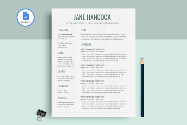 Resume Google Doc Template