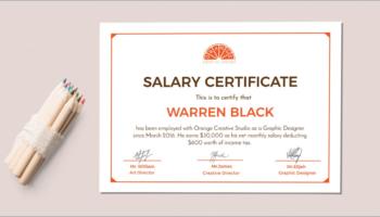 Freesalary certificate templates