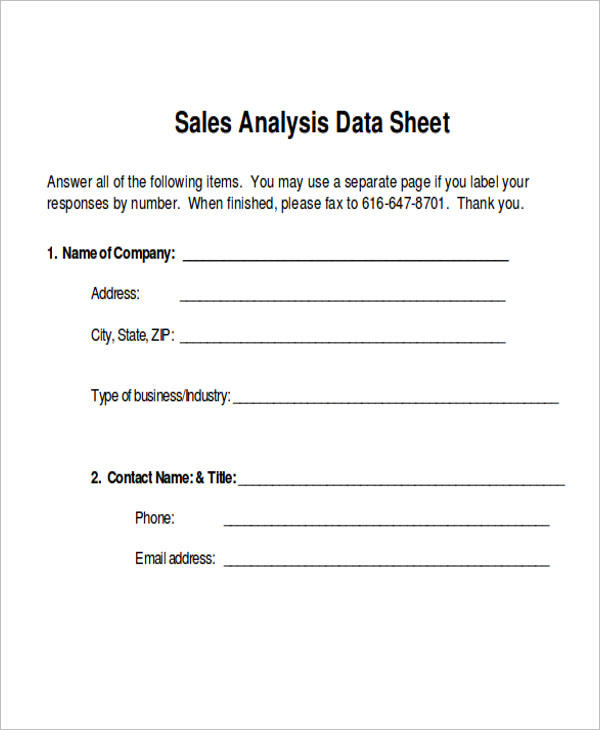 Sales Data Sheet Example