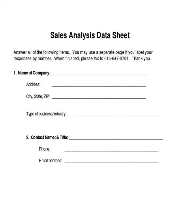 Sales Data Sheet Example