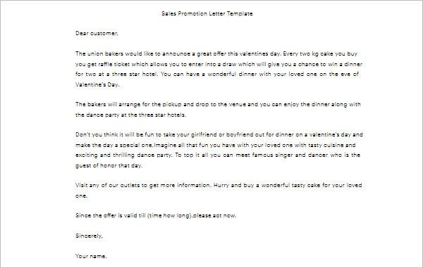 Sales Promotion Letter Template