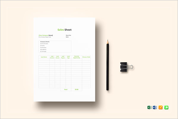 sales sheet templates