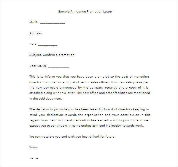 Sample Announce Promotion Letter
